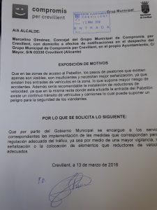 Compromís pide seguridad en las zonas de acceso al Pabellón