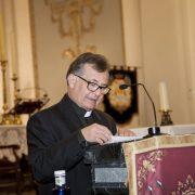 Rvdo. Miguel Riquelme, en la proclamación del Pregón de Semana Santa 2018, celebrado en la parroquia de Nuestra Señora de Belén.